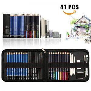 41PCS kit de dessin pro avec Crayons Fusain, crayon de couleur aquarellable, crayon graphite et accessoire dessin dans une grosse trousse, Idéal Cadeaux pour étudiant Artiste Adulte Enfant de la marque TvFly image 0 produit