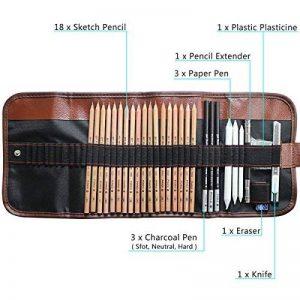 8 In 1 Set de Crayons Croquis Professionnel Crayons à Dessin Outil Pour Artiste Avec Sac de Toile de la marque LY image 0 produit