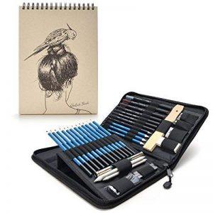 AGPTEK 41PCS Crayons Croquis (avec 1 Carnet à Dessin), Crayons Dessin Crayons de Fusain Graphite Comprenant Bâtonnets, Couteau, Extenseur, Taille-crayons et Pochette de Transport Pratique, Idéal pour Débutant et Professionnel de la marque AGPTEK image 0 produit