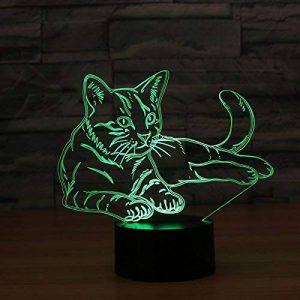 Ahat Chat 3D Visualisation Bulbling Chambre Lumière / Illusion Optique Lampe de Bureau / Lumineux Transparent Acrylique LED Lampe de Table pour Chambre à coucher Chambre à coucher Décor / Holiday cadeau d'anniversaire, Touch-Control USB-Charging avec base image 0 produit