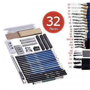 Aibecy 32 pcs Kit de Croquis Crayons de Dessin Fusain de Croquis avec Sac Inclus Crayon de Charbon Graphite Gomme Outils pour Dessiner de la marque Aibecy image 0 produit