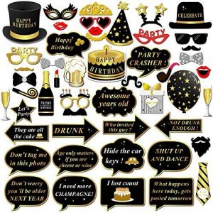 Anniversaire Photo Booth props, Konsait anniversaire Accessoires Photobooth Décorations Masquerade Accessoires sur bâton pour Enfants homme femme Anniversaire Décorations de fête (49pcs) de la marque image 0 produit