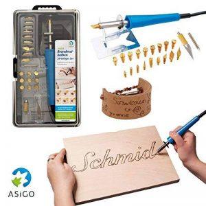Asigo Kit Pyrograveur V2 24 pièces professionnel | Pyrograveur à Bois, Liège, Cuir et Cire | Fer à souder - 30 W/230 V | Kit de bricolage de la marque Asigo image 0 produit