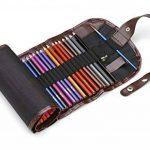 Assortiment de 48 crayons de couleurs pré-taillés haut de-gamme aux couleurs vives, pour adultes et enfants avec un taille-crayon gratuit KUM en alliage métallique dans une pochette dépliante en toile de la marque Moore image 1 produit