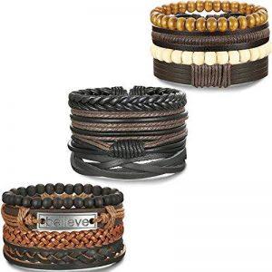 BESTEEL 12PCS Bracelets Cuir pour Homme Femme Unisexe Perle en Bois Corde Tressé Bracelet Manchette élastique de la marque BESTEEL image 0 produit