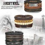 BESTEEL 12PCS Bracelets Cuir pour Homme Femme Unisexe Perle en Bois Corde Tressé Bracelet Manchette élastique de la marque BESTEEL image 2 produit