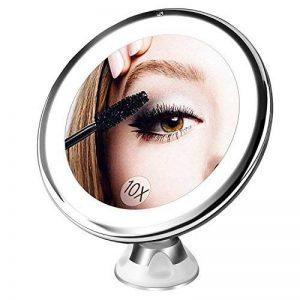 Bestope miroir maquillage grossissant 10x Lumineux,16 LED, 360°rotation ajustable,fonctionnant sur piles,miroir de salle de bain portable lumineux sans fil Blanc de la marque BESTOPE image 0 produit