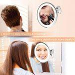 Bestope miroir maquillage grossissant 10x Lumineux,16 LED, 360°rotation ajustable,fonctionnant sur piles,miroir de salle de bain portable lumineux sans fil Blanc de la marque BESTOPE image 5 produit