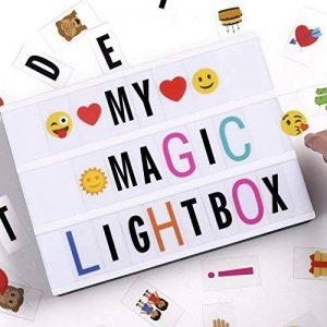 Boîte à lumière A4, boîte à lettres légère à LED avec 90pcs Black Letters, Lettres couleur 90pcs et 85pcs Lovely Emojis, inclus câble USB. de la marque UltraGood image 0 produit