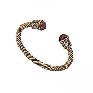 Bracelet viking en laiton ancien serti de perles de bois de la marque Skyrim image 0 produit