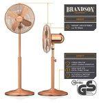 Brandson - Ventilateur de pied avec design retro en cuivre | 3 différents niveaux de vitesse | Fonction d'oscillation d'environ 80 ° | Inclinable 30 ° | Ventilateur de sol | support réglable en hauteur | Flux d'air élevé | 3 différents niveaux de vitesse image 1 produit
