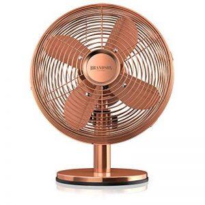 Brandson Ventilateur de table rétro Copperline | Ventilateur avec 3 niveaux de vitesse | Oscillation à 80 ° commutable | Angle d'inclinaison d'environ 40 ° | boîtier métallique robuste | Cuivre de la marque Brandson image 0 produit
