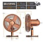 Brandson Ventilateur de table rétro Copperline   Ventilateur avec 3 niveaux de vitesse   Oscillation à 80 ° commutable   Angle d'inclinaison d'environ 40 °   boîtier métallique robuste   Cuivre de la marque Brandson image 1 produit