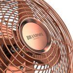 Brandson Ventilateur de table rétro Copperline   Ventilateur avec 3 niveaux de vitesse   Oscillation à 80 ° commutable   Angle d'inclinaison d'environ 40 °   boîtier métallique robuste   Cuivre de la marque Brandson image 3 produit