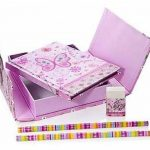Cahier enfant fille petit ensemble de cahiers et de papeterie rose a motif papillon de la marque Mousehouse Gifts image 1 produit
