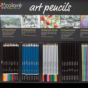 Colore Premium Art Lot - 50 crayons Assortis Lot de crayons pour pages de coloriage et livres - colorées, aquarelle, dessin, Charbon de bois et crayons de couleur métallique pour les étudiants, les en de la marque Colore image 0 produit