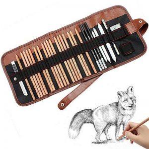 crayon croquis,Cofive Kit de 18 crayon de bois 29 pièces au total Fusain de Croquis avec rouleau en toile pour transport Crayons Gomme Cutter Couteau Rallonge-crayon Pour les artistes débutants de la marque COFIVE image 0 produit
