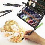 crayons de couleurs pastels aquarellables,54PCS Crayons de Dessin Crayons Croquis Art Set, materiel de dessin et personnalisé Grande trousse, Meilleur Cadeau pour les étudiants et artistes de la marque Zzone image 4 produit