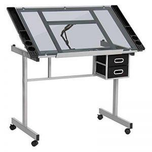 Display4top Table à Dessin pour l'Art et l'Artisanat (acier enduit de poudre robuste et verre clair trempé de 6 mm d'épaisseur) de la marque Display4top image 0 produit