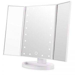 Easehold Miroir Maquillage Miroir Lumineux Miroir LED Triple Pliant Miroir de Maquillage Eclairé avec 21 LEDs Rotation de 180 degrés Batterie Charge USB Blanc de la marque EASEHOLD image 0 produit