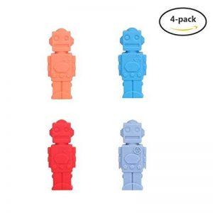 Enfant Embouts de Crayon, Yuccer Paquet de 4 Silicone non Toxique Jouets Mâcher Anti Stress Pencil Topper (Bleu+Gris bleu+Rouge+Orange) de la marque Yuccer image 0 produit