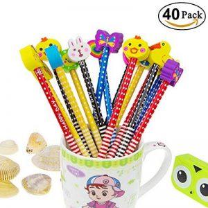 Ensemble de crayon de dessin animé, Attiant 40 Pcs HB crayon en bois avec des crayons de graphite de couleur en caoutchouc avec des gommes, fournitures scolaires cadeau pour enfants, pour la fête d'anniversaire enfants fête du Festival de la marque Attian image 0 produit