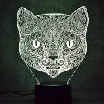 FISSEN 3D chat LED Lampe d'illusion Optique Lampe Lumière de Nuit avec Câble USB et 7 Couleurs Décoration pour Enfant Chambre Chevet Table de Bébé Enfant Cadeau De Noël Fête Anniversaire de la marque FISSEN image 3 produit