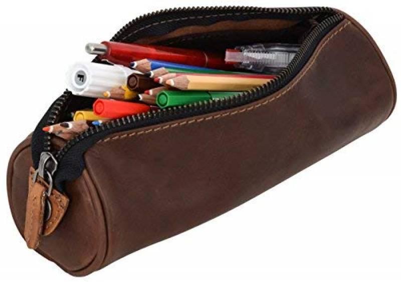 """Gusti Cuir studio /""""Ingemar/"""" trousse en cuir organizer crayons stylos /étui en cuir accessoire en cuir vintage taille moyen pratique chic /él/égante universit/é hommes femmes marron 2S9-22-5"""