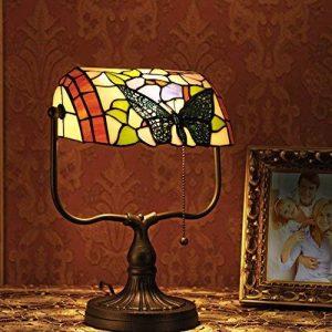 Gweat Tiffany 10 Pouce Verre Style Rétro Fait Main Coloré Papillon Décoratif Banquier Lampe De Table de la marque Gweat Tiffany image 0 produit
