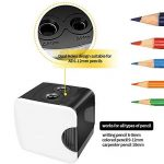 HBlife Taille-Crayon Électrique Automatique avec Réserboir Chargé par USB ou Batterie, 2 Trous de Différente Tailles, Idéal pour le Bureau, L'école, la Maison, Blanc de la marque HBlife image 2 produit