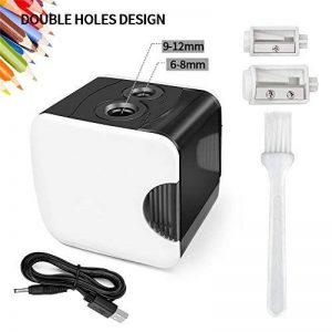 HBlife Taille-Crayon Électrique Automatique avec Réserboir Chargé par USB ou Batterie, 2 Trous de Différente Tailles, Idéal pour le Bureau, L'école, la Maison, Blanc de la marque HBlife image 0 produit
