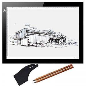 """Huion 17,7"""" Super Mince Lumineuse Tablette Graphique LED Light Pad Luminosité Réglable Table Drawing Copie Tracing Stencil Tatouage Board avec Kenting Artiste Gant et 2 PCS 4B Crayons (A4) de la marque HUION image 0 produit"""