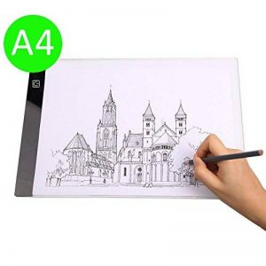 i-ZAGA Satisfr Tablette Lumineuse, A4 Ultramince Portable Lumineuse Dessin, LED Art Design Stencil Tableau de Table Traçage Dessin Traçage de Motifs Copier Pad Board(3 Niveaux de luminosité) de la marque i-ZAGA image 0 produit