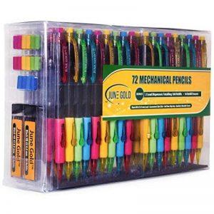 June Gold 72 Crayons mécaniques, 0,9 mm HB # 2 plomb, 2 distributeurs de plomb / w 160 recharges et 16 gommes de rechange, résistant à la rupture, pratique clic latéral et poignée souple de la marque June Gold image 0 produit