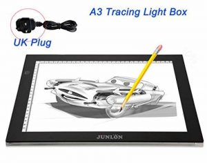 JUNLON A3 Tablette Lumineuse (UK Plug only)LED Light Pad Table Traçage Table à Dessin Lumière Produit lumineux de Artistes Artisanat Traçage d'Animation Extrêmement Lumineux Luminosité Réglable Tatouage de la marque JUNLON image 0 produit