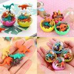 JZK 24 oeufs de dinosaures avec un petit jouet de dinosaure en caoutchouc ensemble de mini-gomme crayon pour les enfants parti faveurs enfants fête d'anniversaire sac pour les garçons filles de la marque JZK image 2 produit