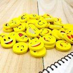 JZK® 48 x Nouveauté gommes à effacer sourire riant timide Emoji caoutchoucs cadeaux mignons pour anniversaire fête des enfants Festival nouvel An Noël, jaune de la marque JZK image 2 produit