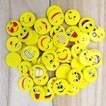 JZK® 48 x Nouveauté gommes à effacer sourire riant timide Emoji caoutchoucs cadeaux mignons pour anniversaire fête des enfants Festival nouvel An Noël, jaune de la marque JZK image 5 produit