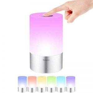 Lampe de Chevet LED Tactile Table, Bawoo Eclairage d'Ambiance Changement de Couleur 256 RGB USB Rechargeable Veilleuse 3 Intensité Pour Camping Chambre Tente Bureau de la marque Bawoo image 0 produit