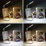 Lampe de Chevet Tsing Lampe de Bureau LED avec Touch Control Lampes de Table Bras en Aluminium Port USB Contrôle Lampe Tactile 4 Modes et 5 Niveaux Lampe de Lecture Luminosité Réglable & Chargeur sans fil Lampe de Nuit Batterie Rechargeable et Puissant - image 4 produit
