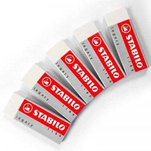 Lot de 5grandes gommes blanches Stabilo Legacy - En plastique, caoutchouc de la marque STABILO image 0 produit