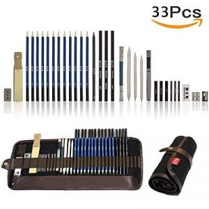 Lypumso 33PCS Crayons de Dessin Crayons Croquis Kit de Croquis Dessin avec Sac Inclus Gomme Crayon de Charbon Graphite Outils pour Dessiner de la marque Lypumso image 0 produit