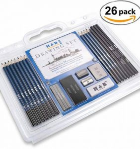 Lypumso Crayons de Dessin 26 Pièces Crayons Esquisse Crayons Set Draw Art Set avec Graphite Charbon De Bois Bâtons Outils de la marque Lypumso image 0 produit