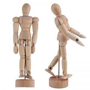 Mannequin de Bois - Mannequin Corps Humain en Bois 30,48cm - Personnage Articulé avec Support - Figurine en bois pour le Dessin et les Arts de la marque KURTZY image 0 produit
