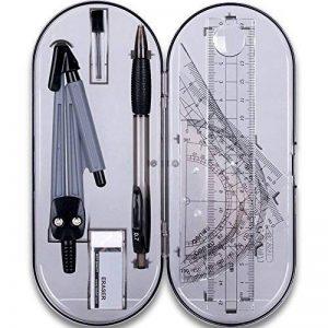 Math Géométrie kit de Lot de 8pièces Student Fournitures avec boîte de rangement incassable, comprend des règles, rapporteur, Compas, Mines, crayon, gomme.. pour les étudiants et les dessins d'ingénierie de la marque MeetUs image 0 produit