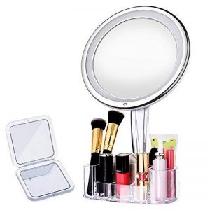 【Miroir LED Intelligent+Boîte de Rangement+Miroir de Poche】LiSmile Miroir Maquillage Lumière de Luminosité Réglable avec Arrêt Automatique/Lumineux à 10 Grossissant Rond Orientable à 360 ° de la marque LiSmile image 0 produit