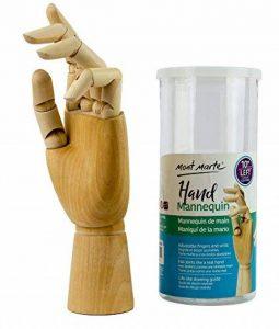 MONT MARTE Mannequin de main modèle de main en bois main gauche 25,4 cm main en bois flexible, idéal comme modèle pour dessiner de la marque MONT MARTE image 0 produit