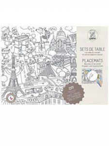 OMY Pochette DE 24 Sets de Table Villes à colorier Paris,Londres,New York, Barcelone, Berlin, Tokyo de la marque OMY image 0 produit