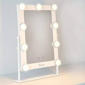 Ovonni Miroir Maquillage Lumineux LED 12W Tactile Eclairage 9 Empoules LEDs, Miroir HD Cosmétique sur Pied à Inclinaison Réglable-Blanc de la marque Ovonni image 0 produit