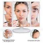 Ovonni Miroir Maquillage Lumineux LED Tactile Pliable Eclairage 21 Empoules LEDS Luminosité Réglable avec 2X 3X Grossissant + Petit Miroir à Ventouse 10X Grossissant 2 en 1 -Blanc de la marque Ovonni image 2 produit